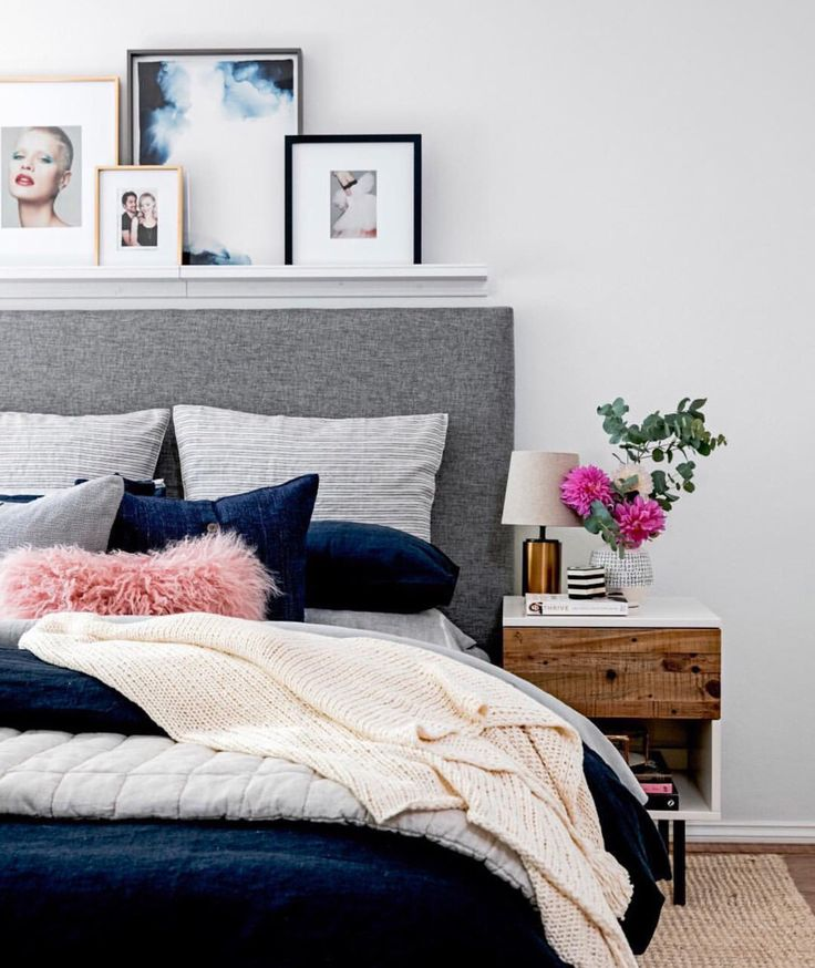 Navy and gray combination for bedroom