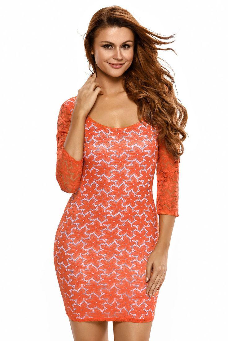 Mini Robes Orange Floral Overlay Robe En Dentelle Pas Cher www.modebuy.com @Modebuy #Modebuy #Orange #dress #me #likesforlikes