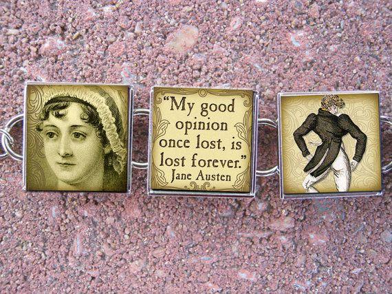 Jane Austen Pride Prejudice Quotes Sense Sensibility Emma Novel Top Hats Glass Charm Metal Bracelet