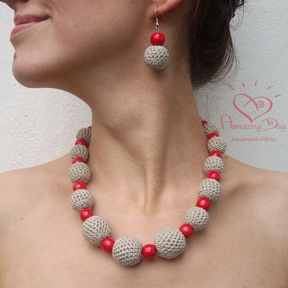 Chunky Red & Grey NECKLACE. Crocheted LINEN by AmazingDay on Etsy, $39.00