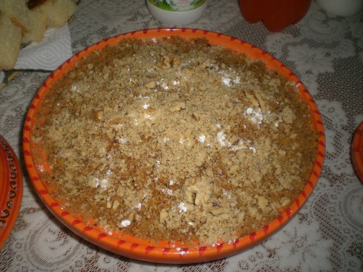 Algerian food: Rfees.  Made with couscous like grains and mixed with honey, butter, walnuts and sugar