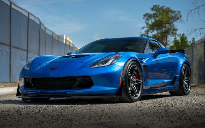 Descargar fondos de pantalla Chevrolet Corvette, el Z06, 2017, 4k, el ajuste de la Corbeta, sports coupe, azul Corvette, coches Americanos, ACE de Aleación de Flowform, Chevrolet
