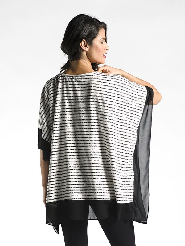 Heavy Weight Poncho with Chiffon Trim - An easy piece to layer over a long sleeve top on cooler days, and cozy up with a large pumpkin spice latte.