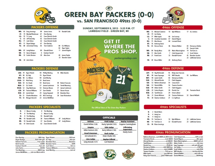 Packers vs. 49ers Roster Card  http://pckrs.com/9epv