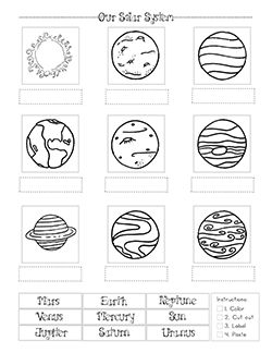 Solar System Cut and Paste Worksheet