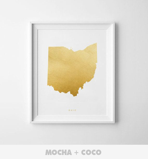 Ohio Gold Map Print US State PosterState Map by MochaAndCoco