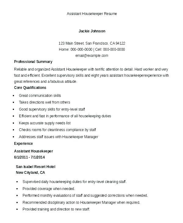 Resume Examples Housekeeping Supervisor Sample Hotel