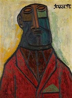 Man in a Red Coat By F.N. Souza ,1956
