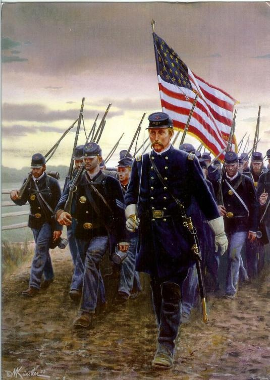 Gettysburg-This is a picture of Joshua Chamberlain and the 20th Maine infantry.
