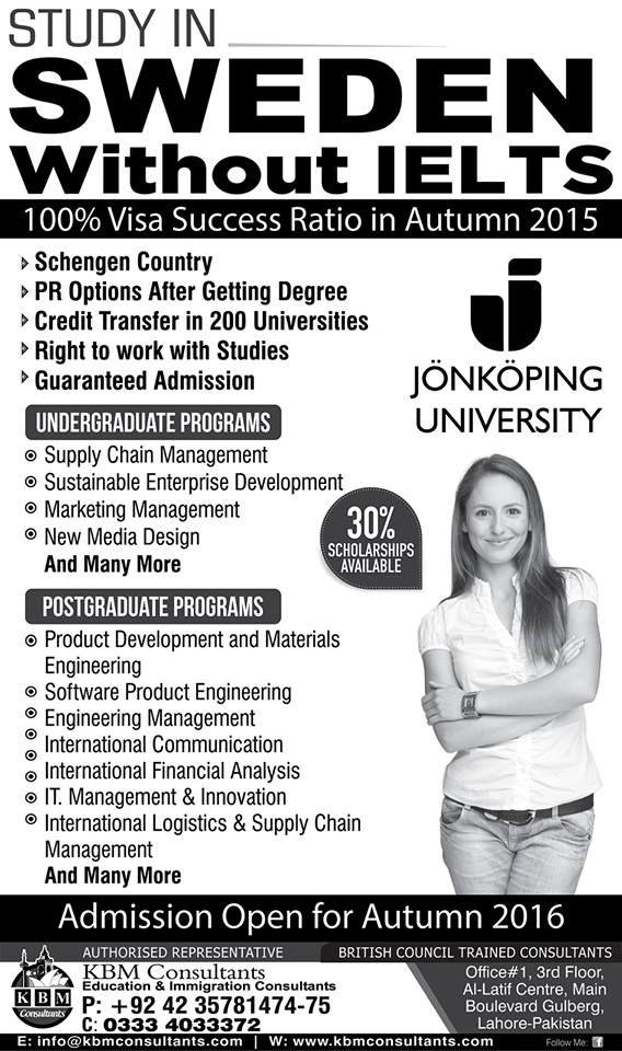 sweden universities scholarship for pakistani students