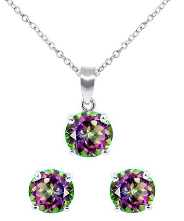 This Rainbow Topaz Round Pendant Necklace & Earrings is perfect! #zulilyfinds