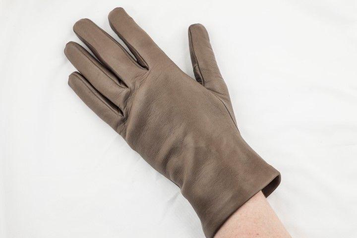 Leather colour block gloves Taupe - EmKha