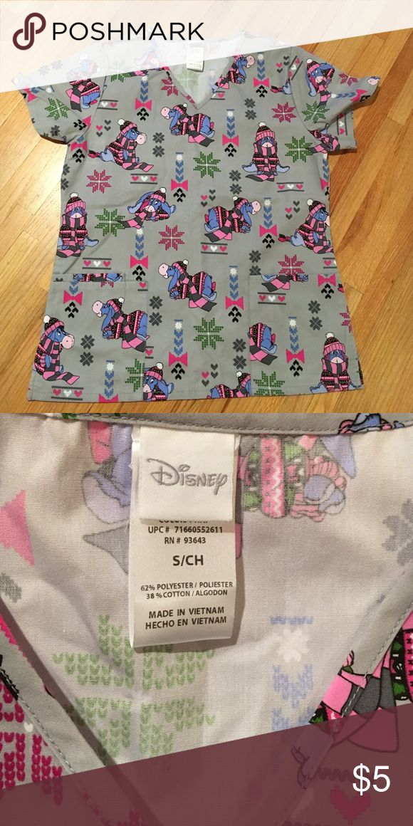 Disney scrub top Eeyore winter themed scrub top!  So cute!  Extremely gently used! Great condition Tops Tees - Short Sleeve