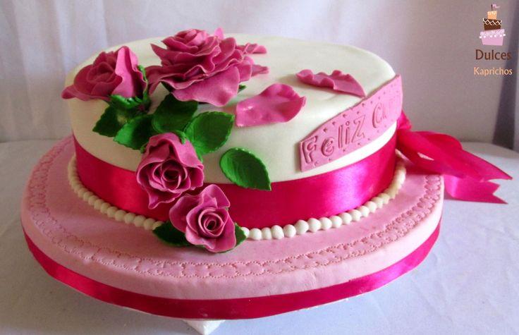 Torta Cumpleaños de Rosas #TortaRosas #TortasDecoradas #DulcesKaprichos