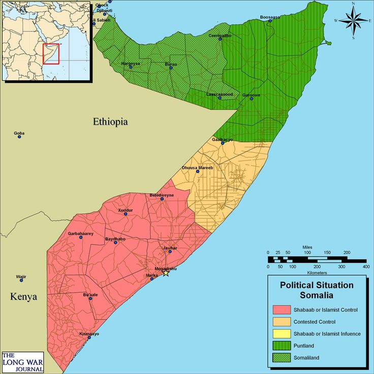 By February 2009, al-Shabaab controlled most of southern Somalia, including the capital of Mogadishu, as depicted in this map.