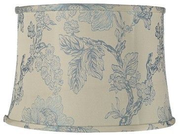 Traditional Wedgewood Blue Cream Floral Lamp Shade 14x16x11 (Spider) traditional lamp shades