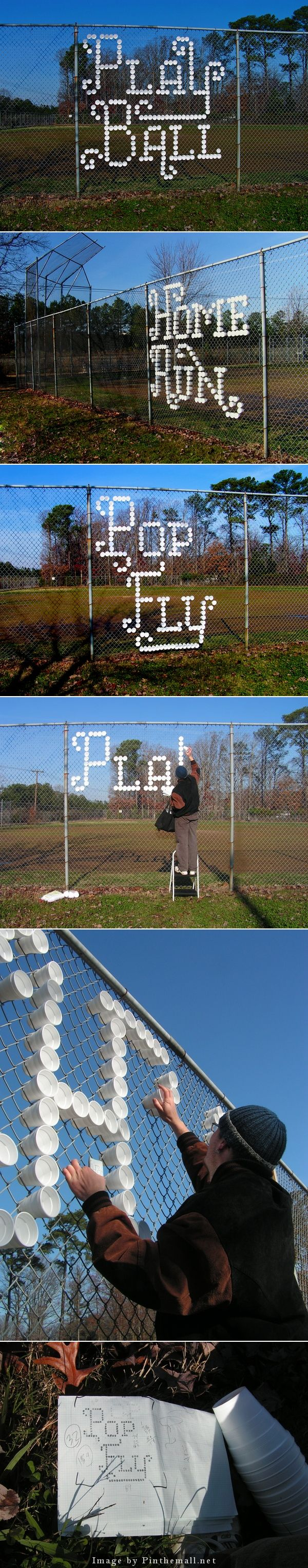 Styrofoam cup typography - I can greet the parents/students with a message in the fence at the main entrance!