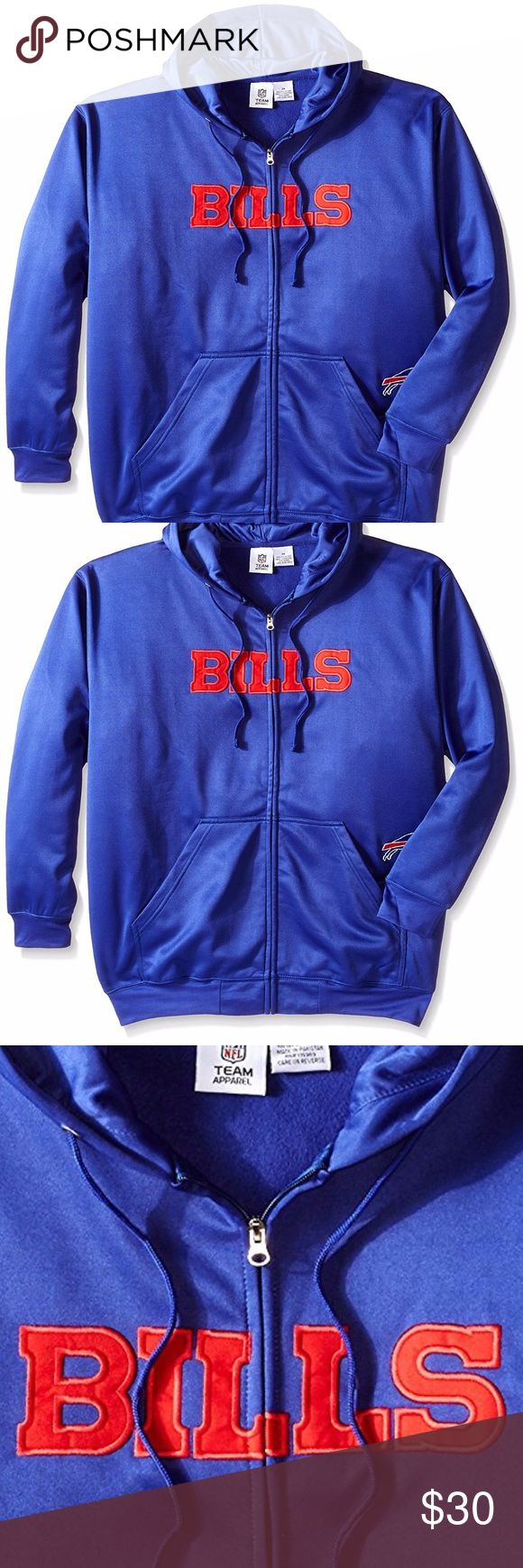 Buffalo Bills Big & Tall Full Zip Poly Hoodie Brand New Officially Licensed with tags. This Slick Browns full zip hoodie is perfect for Fall/Spring or layering. Featuring brushed fleece interior, stitched team name across the chest and embroidered logo above the left pocket. 100% polyester. (XLT) 889758182981(4X)889758182950 TX NFL Jackets & Coats