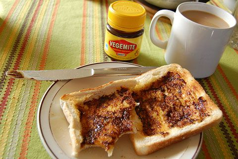 Vegemite- a kind of jar in special Australian flavour to put on toast, crumpets and savoury biscuits