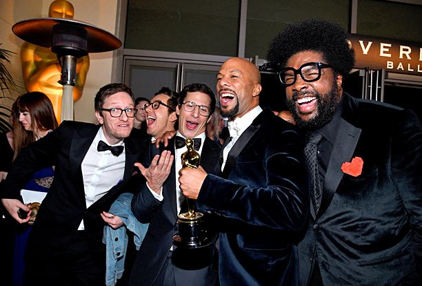 "Akiva Schaffer and Andy Samberg of ""The Lonely Island,"" and musicians Common and Questlove #Oscars"