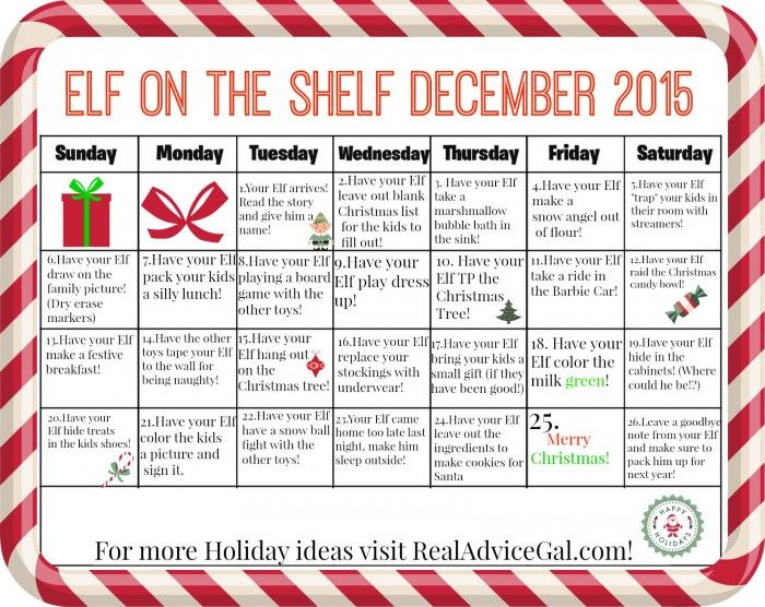 Funny Elf on the Shelf ideas: Calendar of ideas