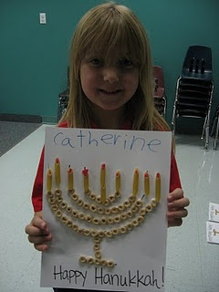 Hanukkah menorah crafts with cheerios and noodles (pin link is broken but you can get a good idea from the picture).