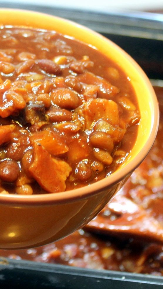 WORLD's BEST BEANS   And I do indeed mean BEST... LOADED with BACON BACON BACON, and seasoned with a spicy Texas Steak Sauce.  A THICK Rich gravy and three types of beans.  Sounds complicated, but easy to DIY and a fantastic way to have your guests proclaiming you the master of your domain as you rule the backyard BBQ!  Make a BIG BATCH and freeze the extras!  Perfect for large groups, Church Socials, a Family get together and just to show off!
