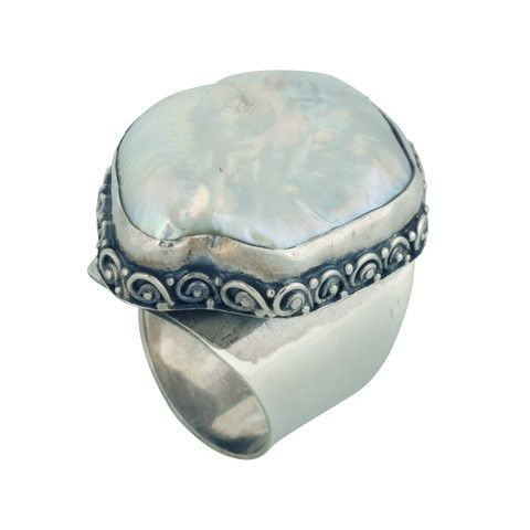 Changing Tides (CT009) Sleek 925 sterling silver wide band ring with a spiral design bordering a shell stone.