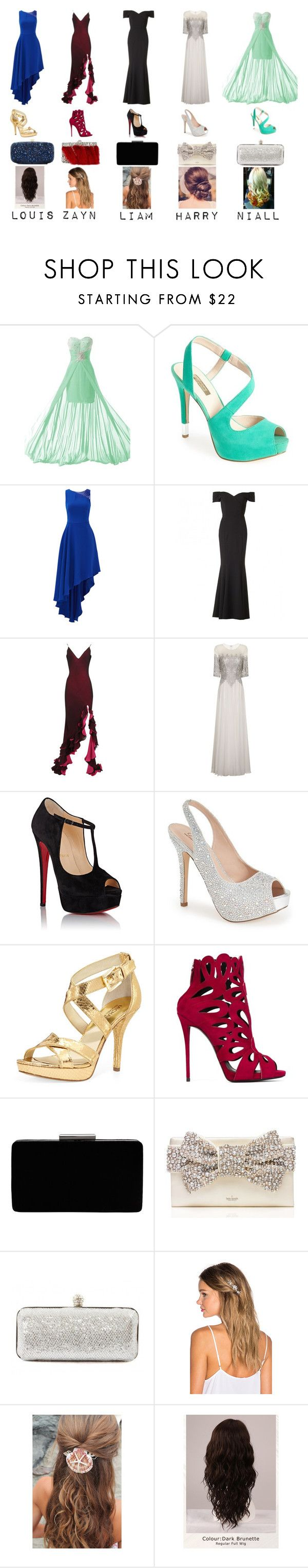 """@ the Premiere with..."" by alethea-styles-1d ❤ liked on Polyvore featuring GUESS, Halston Heritage, The Pretty Dress Company, Maria Grachvogel, Chi Chi, Christian Louboutin, Lauren Lorraine, MICHAEL Michael Kors, Giuseppe Zanotti and John Lewis"