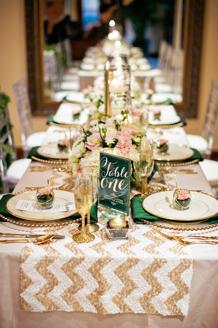 long table setup wedding reception%0A Emerald and Gold Table Settings  White and Gold Chevron Table Runner