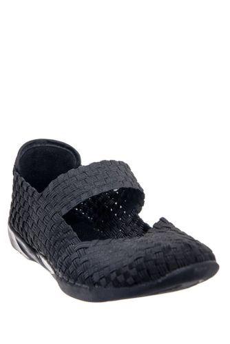 Bernie mev cuddly black woven memory foam women's shoes bnib
