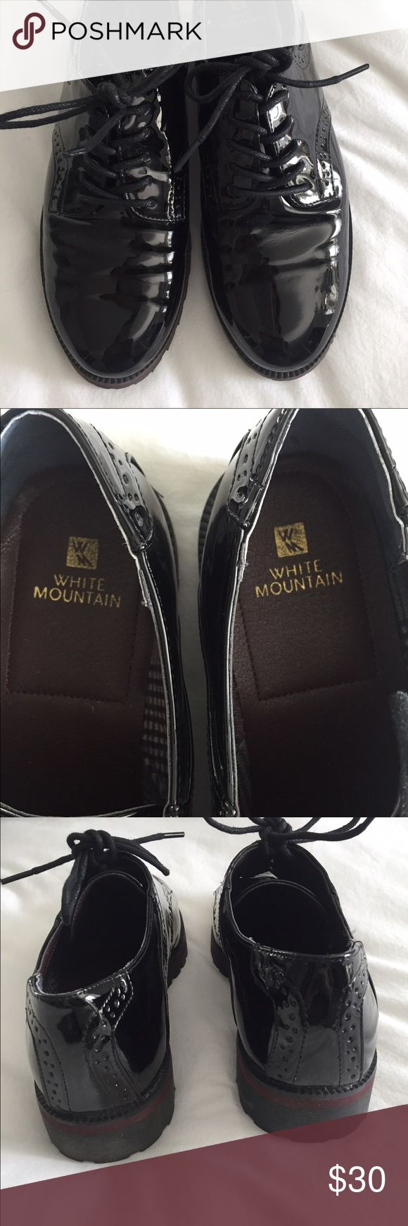 White Mountain Oxfords Black patten vegan leather brogues in spectacular condition-Worn once outdoors! Just a couple of tiny scuffs on inside of shoes shown in last pic. All man made materials and fit slightly on small side. White Mountain Shoes Flats & Loafers