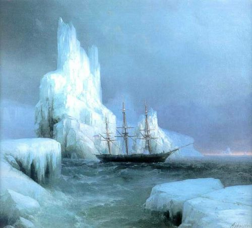 Ivan Aivazovsky (Russian/Armenian 1817-1900)  Icebergs, c. 1850-1880
