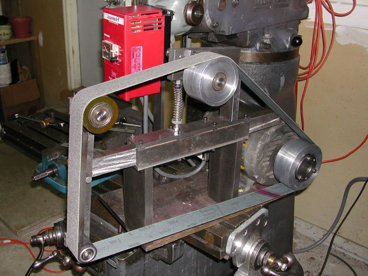 Belt Grinder by kenny -- Homemade belt grinder powered by a 3 HP 1720 RPM motor via a variable frequency drive. Fabricated from steel and aluminum. http://www.homemadetools.net/homemade-belt-grinder-17