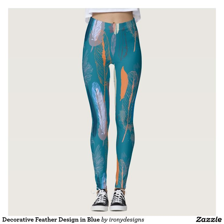 Decorative Feather Design in Blue Leggings / Yoga Pants. Decorative design of Feathers as a Pattern done in vector to give a nice clean look, done in different shades of blue and orange. A lush and elegant teal, Biscay Bay splashes up against more heated tones with its cool touch.