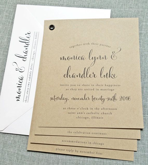 Monica Kraft Booklet Wedding Invitation Sample   Black Calligraphy Font,  Rustic Wedding Invitation