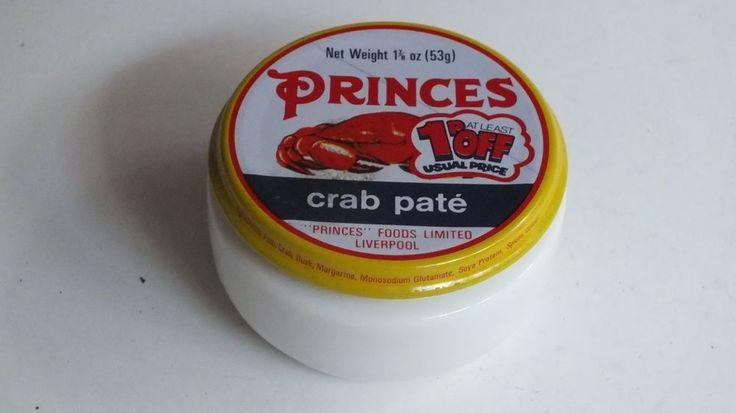 Vintage Retro PRINCES Crab Pate Glass Jar 1970's TV Film Prop
