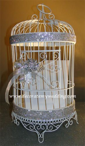 perfect little bling birdcage card holder: Birds Cages, Rhinestones Birds, Birdcages Cardhold, Bling Birdcages, Birdcages Wedding, Cards Boxes, Wedding Cards Holders, Wedding Theme, Birdcages Cards Holders