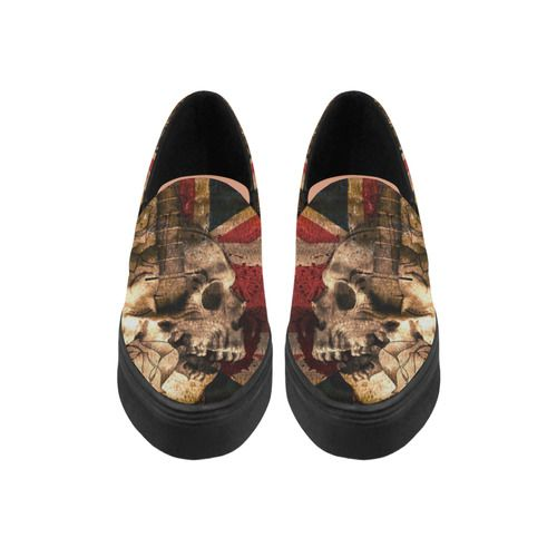 Grunge Skull and British Flag Naiad Canvas Shoes  Model 1809