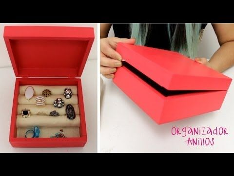 Haz tu propio organizador de anillos / Caja de madera rojo / joyería