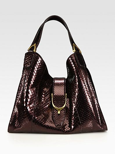 Gucci - Stirrup Medium Python Top Handle Bag - Saks.com