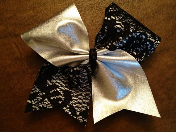 Beautiful! Cheer Bow  Silver and Lace by FullBidBows on Etsy, $11.00