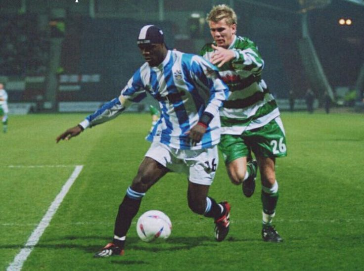 Huddersfield 3 Yeovil Town 1 in March 2004 at the McAlpine Stadium. Efe Sodje comes forward for Huddersfield #Div3