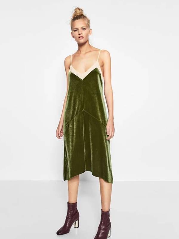 Vestido de Alcinha Slip Dress Aveludado - Ref.919