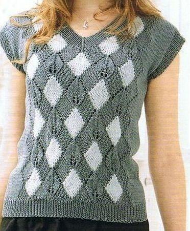 """Mon Amour Loisirs Crochet: losange Vest deux aiguilles pour cliquer, cette contribution est le """"Web"""""""