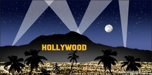 Hollywood Sign At Night Backdrops Hollywood Usa