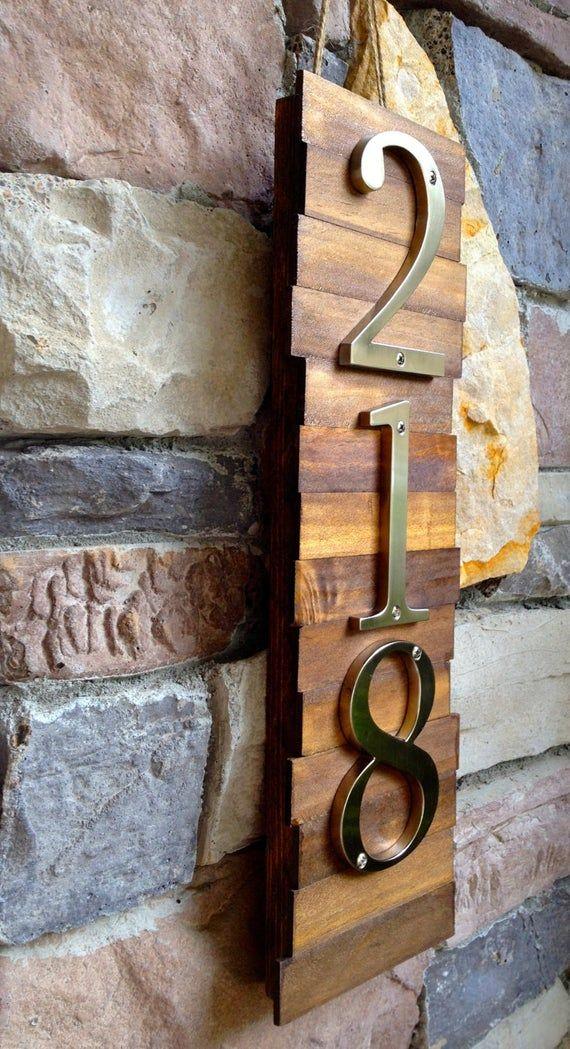 Decorative House Number Plaque 3 S Wooden Plaque Etsy With Images House Numbers Diy House Number Plaque House Numbers