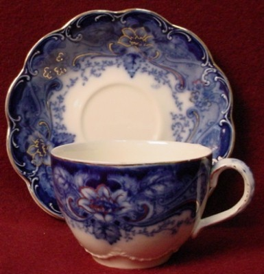JOHNSON BROTHERS china ARGYLE flow blue CUP & SAUCER Set