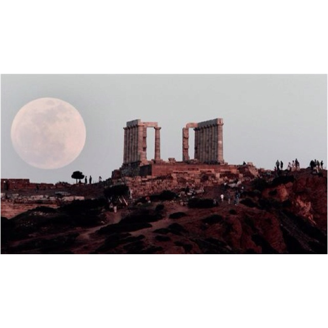 Super moon over temple in Greece, amazing!