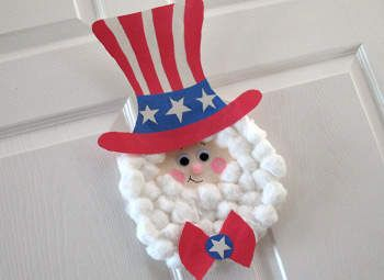 Paper Plate Uncle Sam - Kids can create a patriotic pal for the Fourth of July! This fun project is great for little ones who will love putting on the oh-so-soft beard made of cotton balls.